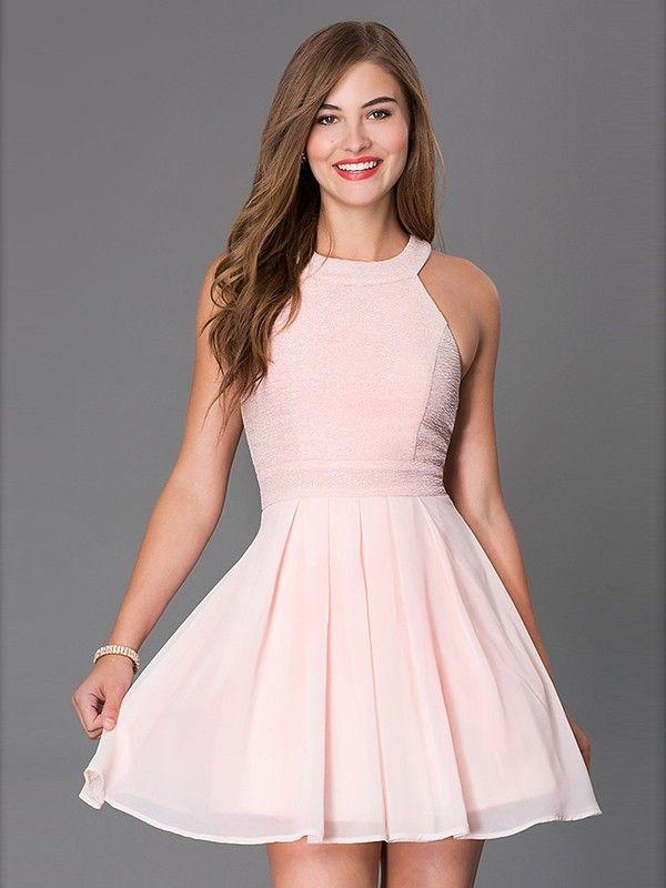 A-Line/Princess Scoop Sleeveless Bowknot Short/Mini Chiffon Dresses