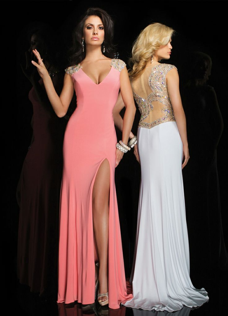 Tony Bowls 2014 Light Coral White Sheer Back Beaded Prom Dress with a Slit 11417 | Promgirl.net
