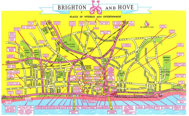Nobody suggests a visit to Patcham... / Fabulous old tourist map of Brighton & Hove