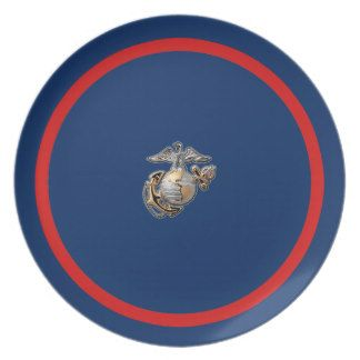 USMC Dress Blues Dinner Plates. Dress up a special occasion such as a Marine Corps wedding, graduation dinner, or even a Marine Corps Ball with special table settings.