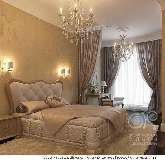 3D дизайн неоклассической спальни