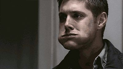 """The """"Chew Like You Have a Secret"""" gif. There must be something wrong with me mentally because I still find this very attractive. Possibly because I constantly stuff my face and smile at people like this for no reason. I love having such weird things in common with Dean. (Even though this is just how Sam imagined him.) He's like a cute little chipmunk! I just wanna squeeze his cheeks. ❤️"""
