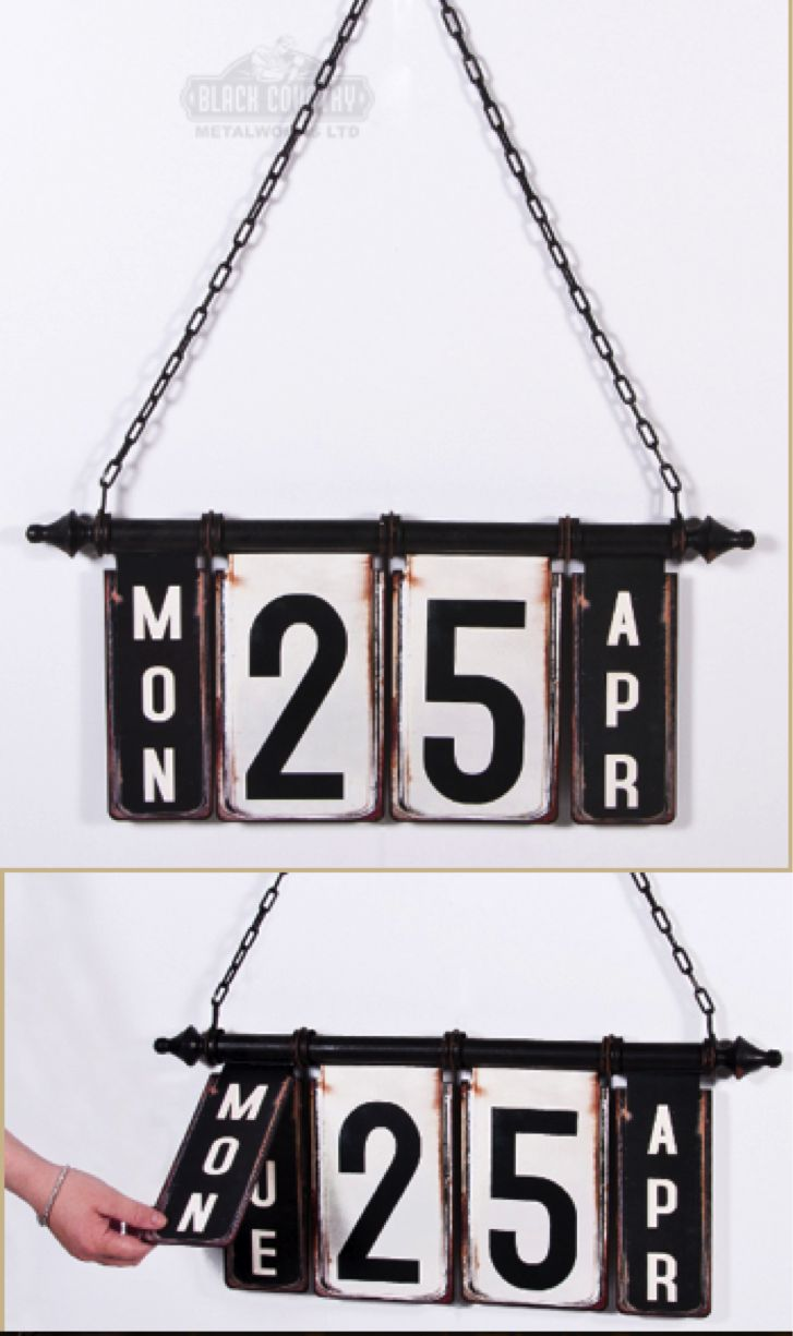 Hand made hanging wall calendar. Metal, finished with stylish vintage decals. Love the period charm this piece will add to a room. Fun, practical and a great talking point!  http://www.blackcountrymetalworks.co.uk/Rustic-Hanging-Calender.htm