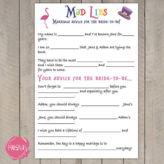 d2df1be733e6 Alice in Wonderland Madlibs - Bridal Shower Game - Wedding Advice - Mad  Hatter by WeddingPlanningShop