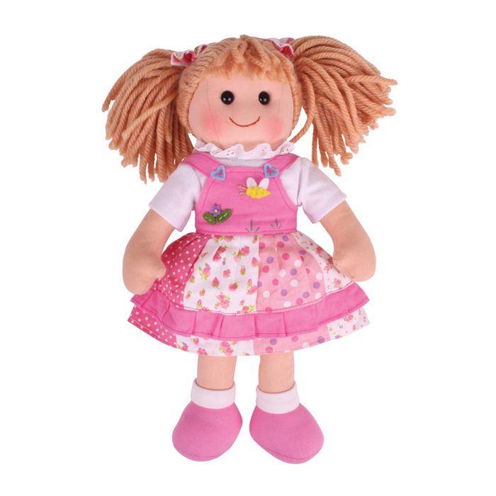 Stoffen pop Hayley 38 cm  Ontmoet Hayley. Deze zachte knuffelpop draagt een schattige zomerjurk met een gelaagde rok. Haar bijpassende roze schoentjes en de lintjes in haar haar maken haar outfit compleet. U kind zal zeker dol zijn op Hayley.  Bigjigs poppen zijn leverbaar in 3 verschillende hoogtes - 28 cm, 35 cm en 38 cm. Alle poppen inspireren tot het spelen van rollenspellen. Tevens draagt het spelen met deze poppen bij tot het ontwikkelen van vriendschappen.