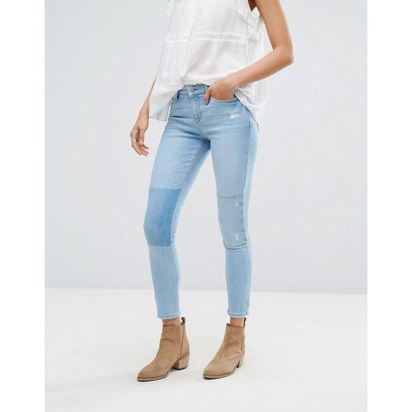 Esprit Knee Patch Slim Fit Jeans ($72) ❤ liked on Polyvore featuring jeans, blue, torn jeans, distressed jeans, destroyed jeans, destructed jeans and tall jeans