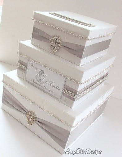 Pantone Paloma / Wedding Card Box, Bling Card Box, Money Holder with Rhinestone Trim