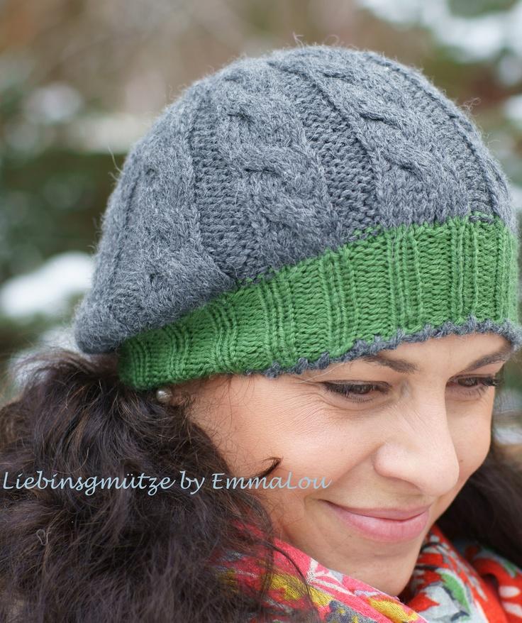 Traumhafte Farbkombi - grün/grau. Handgestricktes Lieblingsbeanie - eine klassische Zopfmustermütze   aus Merino/Babyalpaka-Gemisch, die Wolle stammt von Lana Grossa