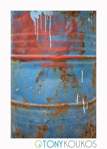 barrel, paint, brushstrokes, splatter, old, dodecanese islands, greece, Tony Koukos, Koukos