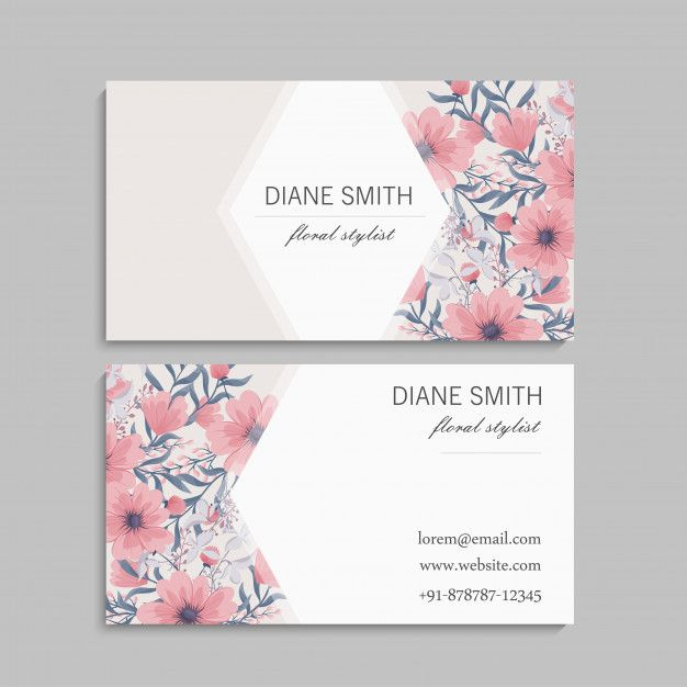 Download Business Card With Beautiful Flowers Template For Free Flower Template Vector Free Download Business Card