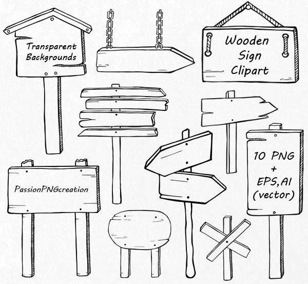 Hand Drawn Wooden Sign Clipart Doodle Signs Clip Art Png Huruf Tulis Tangan Buku Kliping Buku Tulis