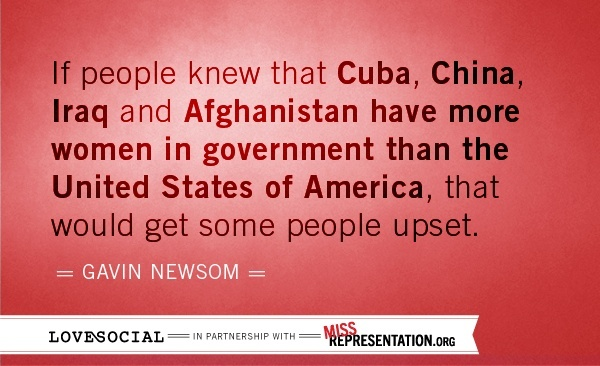 From an interview with California Lt. Governor Gavin Newsom, in the documentary Miss Representation. If you have Netflix, do yourself a favor, and watch this incredible documentary!