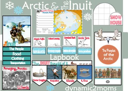 The Arctic and The Unuit Lapbook - A wonderful unit of study to download. The Arctic is literally the end of the world. It takes its name from the Greek word for bear, arktos, because the land is under the constellation of the Great Bear. The Arctic Circle is an imaginary circle that extends south about 1620 miles in every direction from the North Pole. This unit teaches about the Inuit Peoples from the arctic region as well as animals and other interesting aspects of the polar region.