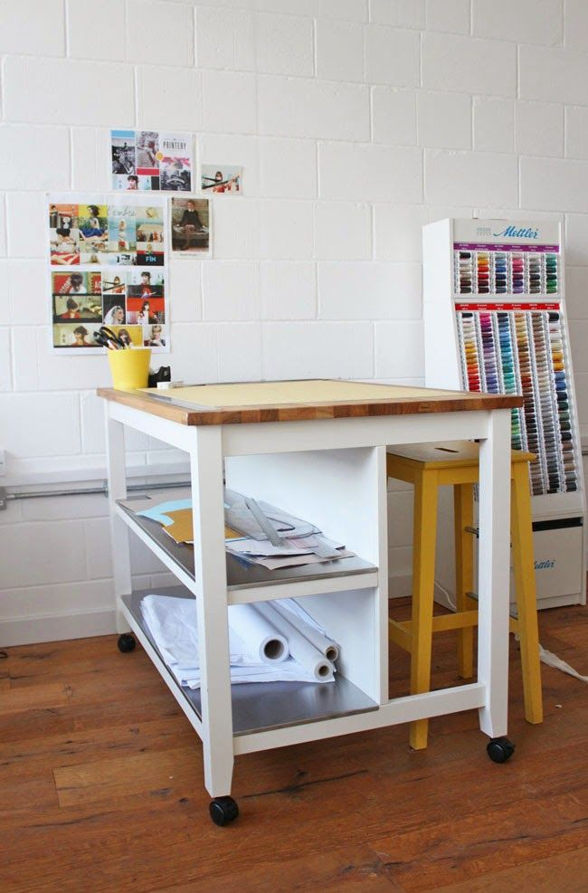 Cutting Table Hack - adding castors to Stenstorp kitchen island (http://www.ikea.com/us/en/catalog/products/00116996/)
