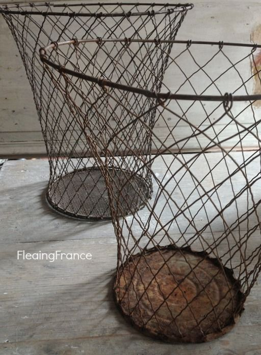 Fleaingfrance Vintage French Wire Baskets All Inspired Brocante Decor Pinterest Basket And
