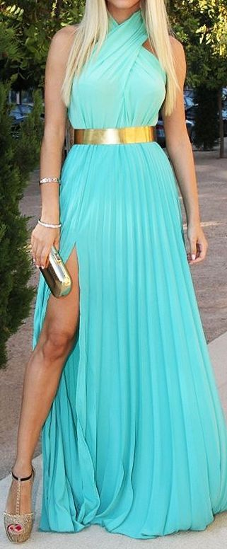 Tiffany Blue Halterneck Sleeveless Pleated Maxi Dress //