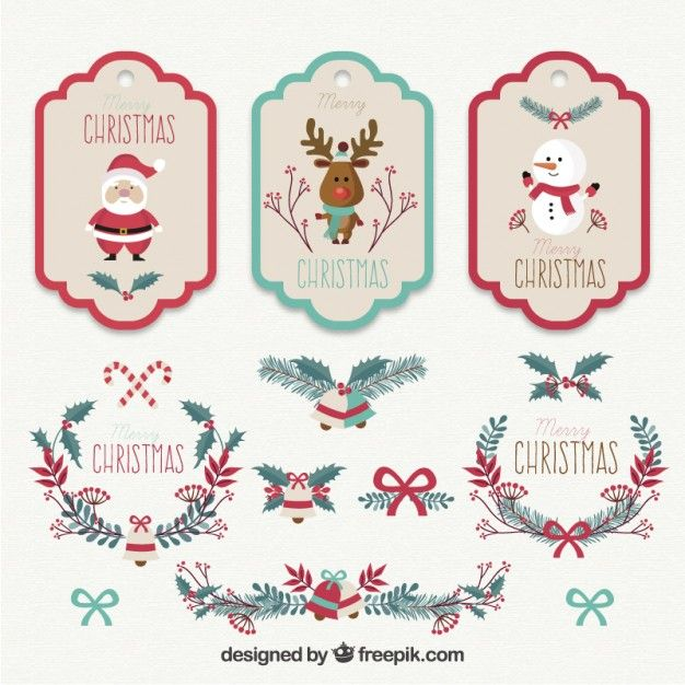 Collection of christmas tags Free Vector