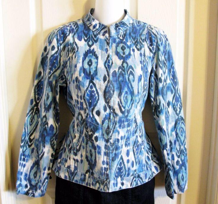 Chicos 0 Womens Blue Geometric Jacket Linen Zip Up XS Sz 4 Southwest Blazer  #Chicos #BasicJacket #Casual