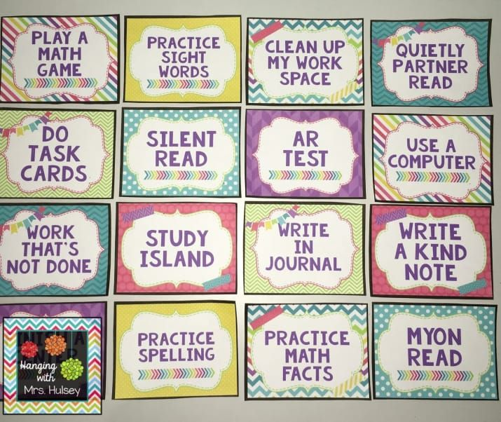 """I have something in my room called the """"I'm done, now what?"""" board. It's a board with nine options like cleaning out your desk, math flash cards, read a book, free write in your writing journal, etc. When students are done with all their work they pull a wooden stick and complete the activity they selected. It eliminates the constant """"I'm done, what do I do?"""" from students who always finish early.—emilynpierceGet four free blank card designs like these for your own wall on Hanging With Mrs…"""