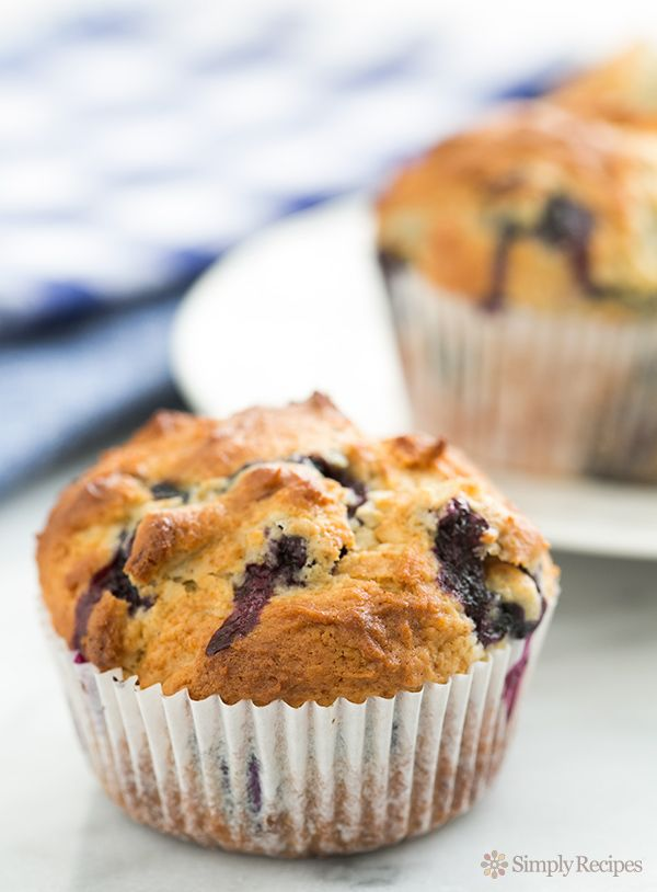 Fabulous blueberry muffins recipe —fluffy, and packed with blueberries.  An all time favorite. ~ SimplyRecipes.com