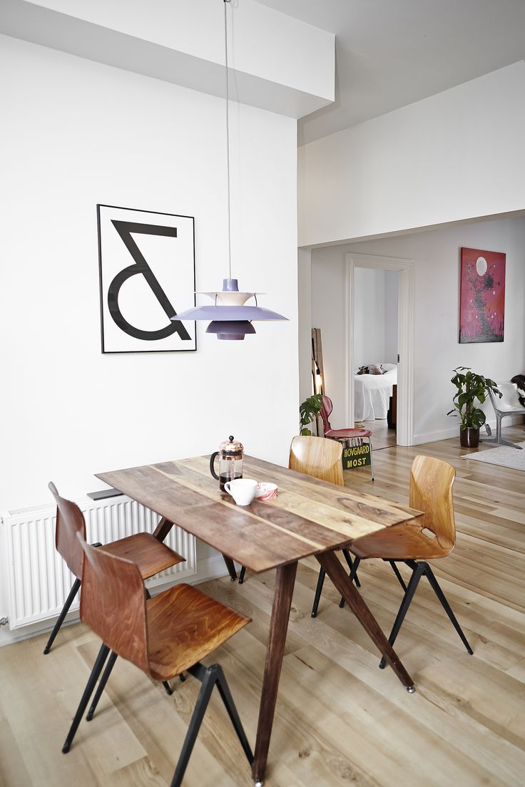 Kitchen  - Rank Kitchen Table (prototype) - PH5 Lamp by Poul Henningsen  - Bowl by Danish designer Troels Flensted - Chairs by Friso Kramer