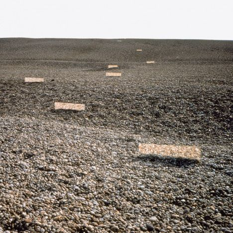 Robert Smithson's Mirror Displacement constructed on Chesil Beach, Dorset and photographed by the artist (1969)