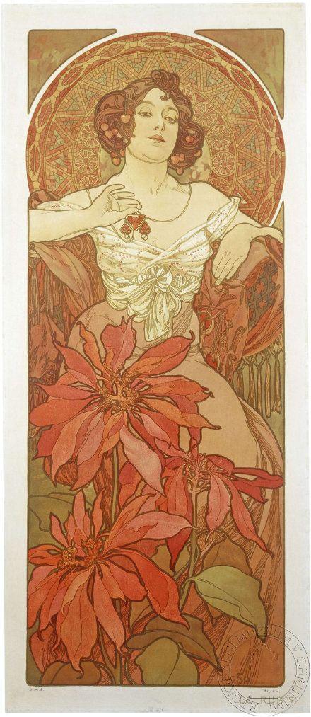 Drahokamy jsou znázorněné ženou provokativně hledící z plakátu na diváka, kolem hlavy je mozaikovitá aureola, v dolní části plakátu jsou květy v barvě typické pro rubín.