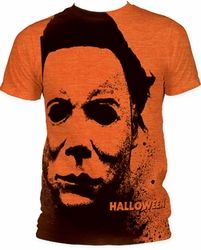 "Michael Myers as you've never seen him-Splatter Mask style! This ""subway"" style t-shirt is awesome"