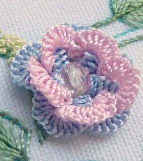 "RosalieWakefield-Millefiori Interlude Rose, from my Brazilian dimensional embroidery design ""Waltz of the Flowers"""