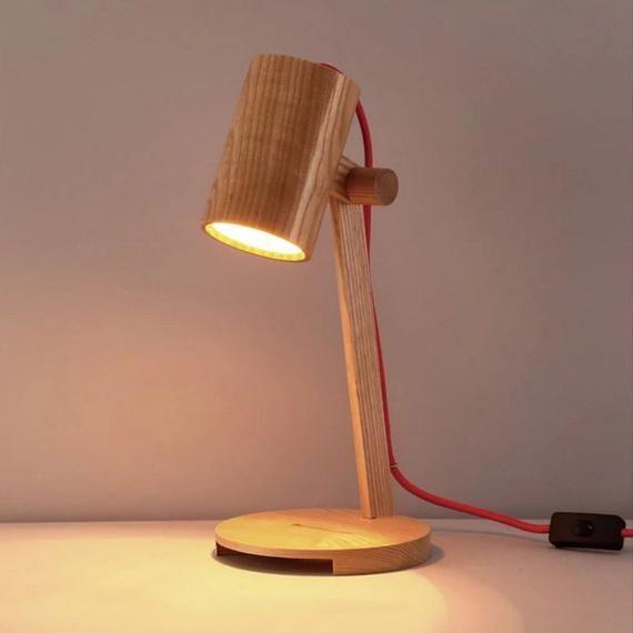Wood Table Lamps Adjustable Wooden Lampshade Modern Bedroom Desk Light Reading Lamp Wooden Lampshade Table Lamp Wood Wooden Pendant Lighting