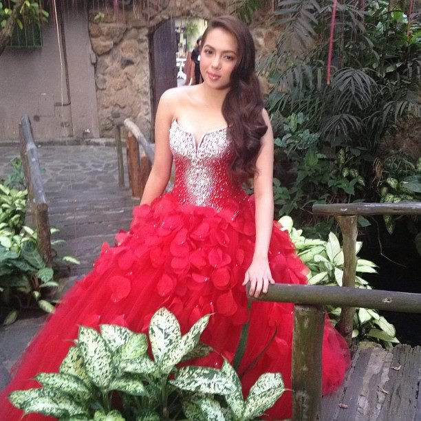 Julia Montes in a red gown for her Debut Party   Filipina ...  Julia Montes in...