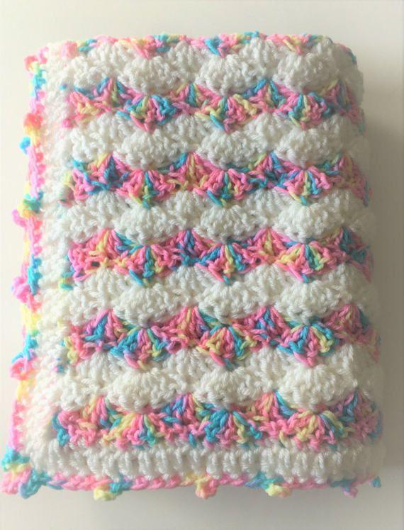 3dca463bdaa82 Rainbow Baby Blanket, Crochet Baby Blanket, Pastels Baby Blanket ...