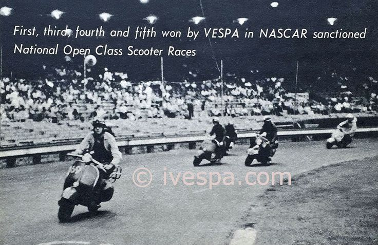 Nascar know primary for its automotive racing pedegri, on July 11, 1959 sanctioned the first National Open Class Scooter Race at N.Y. Polo Grounds. The Vespa pilots were riding the Vespa Grande Sport (G.S.) and from starting flag to the checkered flag the Vespa G.S.'s led the way.   #150 #gs #nascar #racing #Scooter #vespa #vintage