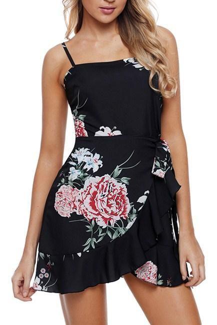 Chic Chic Ruffle Wrap Hemline Black Floral Sundress MB220315-2 –  ChicLike.com 553959c86