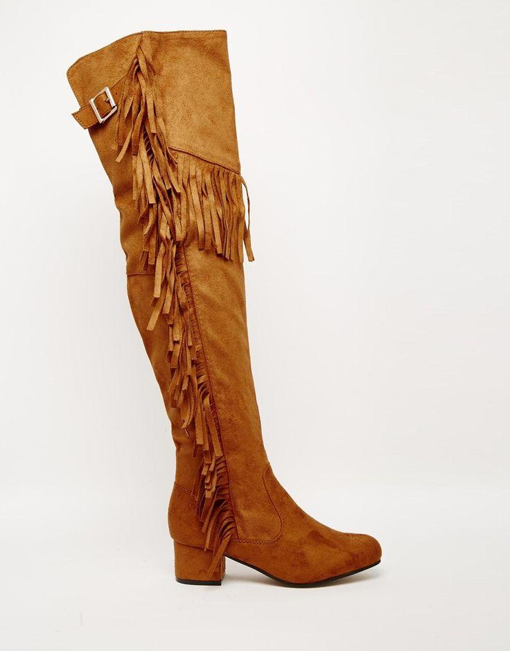 Bild 2 von Truffle Collection – Luan – Overknee-Stiefel mit Fransen und Blockabsatz