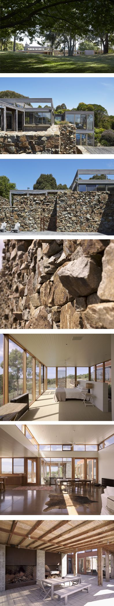 Country estate in Mornington Peninsula at Whitehall Road Residence by BE architecture made from rough stack stone from a local quarry