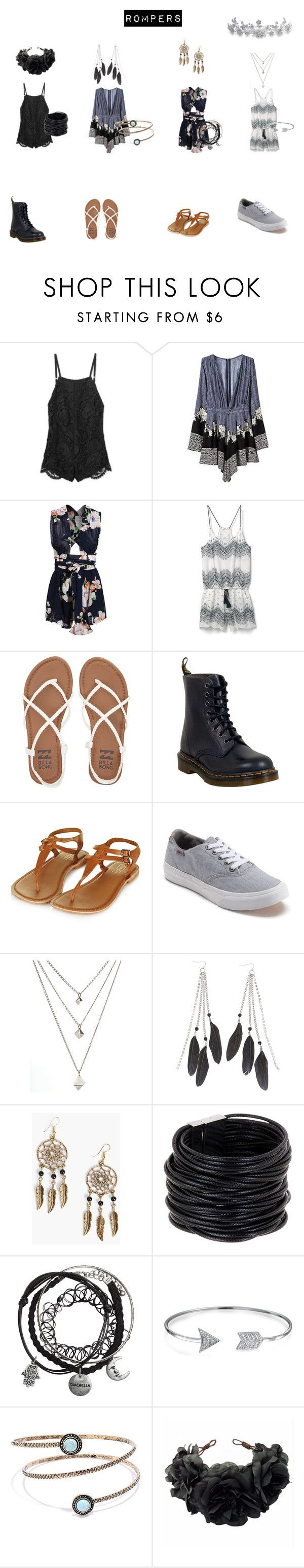 """""""Romper"""" by amberpurdybvb34 on Polyvore featuring Stone_Cold_Fox, MANGO, Billabong, Dr. Martens, Topshop, Vans, Charlotte Russe, Boohoo, Saachi and Bling Jewelry"""