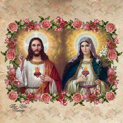 Flor Lilás Vintage: Sagrado coração de Jesus e Maria