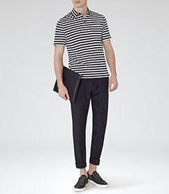 Mens Navy/white Textured Polo Shirt - Reiss Pinto