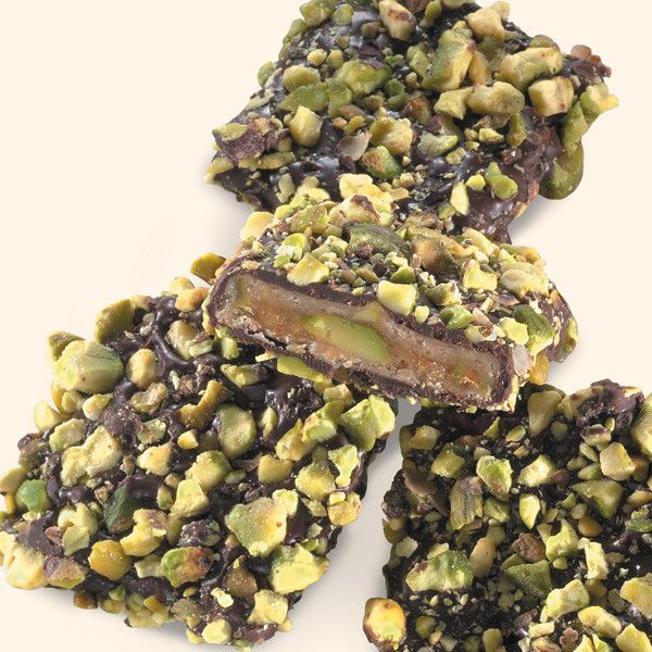 """A Special Nutty Toffee Treat """"It is a winner! Really delicious."""" -C.S., Vero Beach, FL Chocolate Pistachio Toffee is smooth toffee enrobed in rich dark chocolate, then coated with roasted pistachios."""