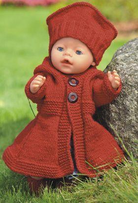 Strikket vintersæt til dukken: Frakke, hat og sokker