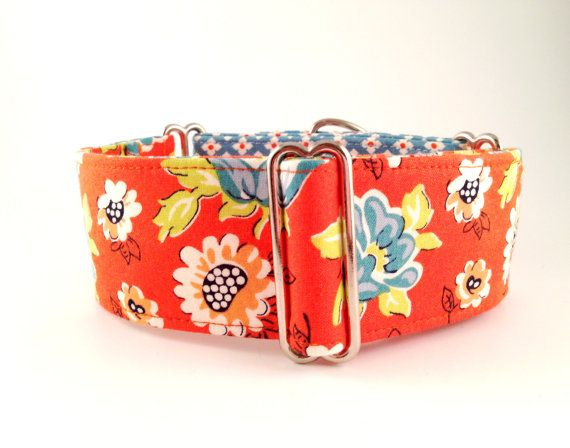 "Orange Floral (2"" Martingale; Martingale Collar; Dog Collar; Greyhounds, Sighthounds & Galgos; Floral Martingale; Adjustable, One-Of-A-Kind)..."