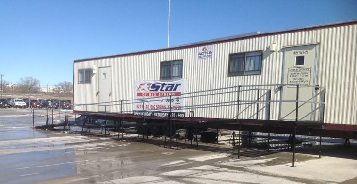Scott Hilleger and the Amramp Dallas/Fort Worth team installed this rental wheelchair ramp to provide access to a temporary office trailer during construction of a new car dealership in Big Spring, Texas.