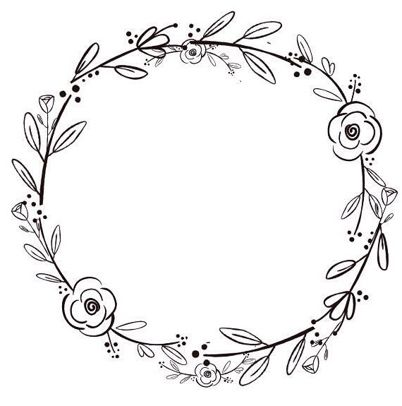 Pin By Krolikkot On Zima Wreath Clip Art Black Flowers Wreath Drawing