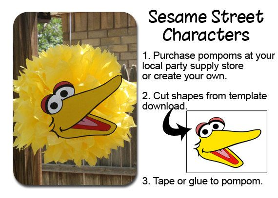 Big Bird PomPom Face Template by OurCreativeMess on Etsy, $3.50