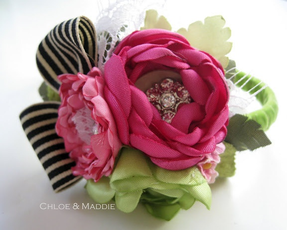 Vintage inspired whimsical lime and fuschia pink handmade fabric flowers headband. HELENA. $41.95, via Etsy.