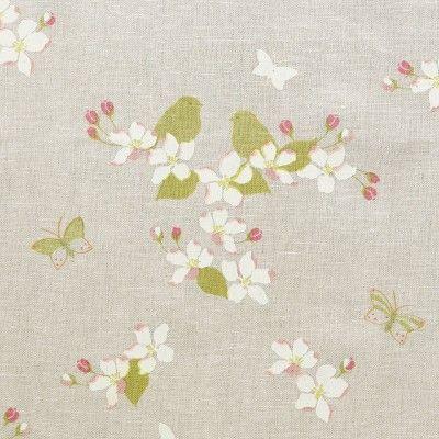 Linen - Apple Blossom Ivory/ Green - 314 - English Garden - Fabric - Fabric & Interiors