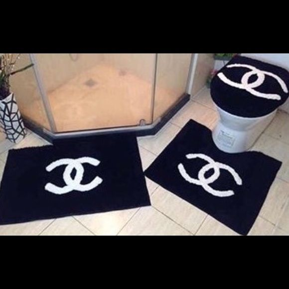 CHANEL HOME ACCESSORIES CHANEL Bathroom set 3 Shower Curtain Bathroom Accessories Bath