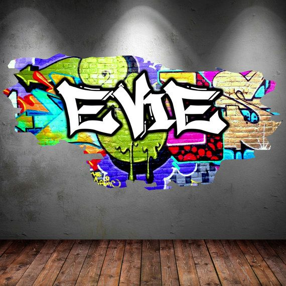Personalised Graffiti Name Wall Decals Full Colour by GlitterBlast