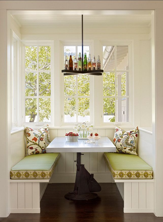 Eating Nook. Small Eating Nook Design. It would be really fun to wake up and have a cup of coffee while reading the newspaper here. And talking about fun, take a look at the custom bottle chandelier. Now, that's original! :-) #EatingNook #EatingNookDesign